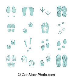 Ice Blue Footprints Set On White - Ice blue color footprints...
