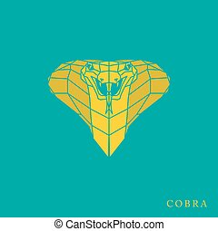 01-1.eps - Polygonal yellow cobra icon. Geometry design....