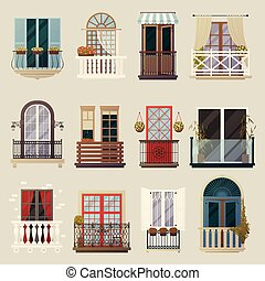 Modern Classic Vintage Balcony Elements Collection - House...