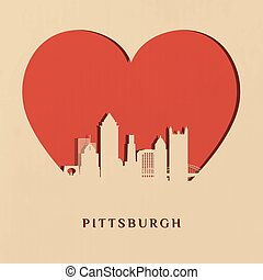 Pittsburgh (Paper Card) - Paper-cut silhouette of Pittsburgh...