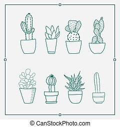 01-1.eps - Green cactus in a pot vector illustrations. Hand...
