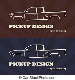 ???????? RGB - Vintage retro pickup truck car vector...