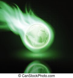 Flying green flaming the globe on dark background