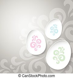 Abstract easter eggs on gray background with pattern