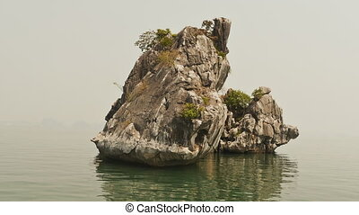 The small rock island. The view from moving ship. Vietnam. Ha Long Bay.