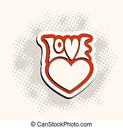 Love and heart sign hand lettering. Vector label retro...