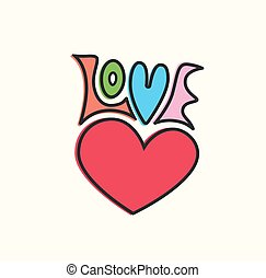 Love heart symbol hand lettering. Vector illustration.