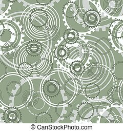 Seamless pattern. Springs gear wheels vector background.
