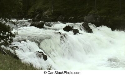 Big Waterfalls in Norway. - Falls from Briksdalsbreen in...