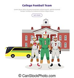 Colleage Football Team. High School on Background - Colleage...