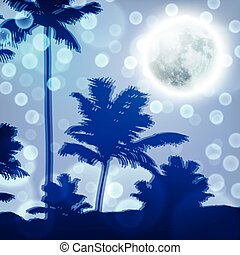 Landscape with palm trees and full moon at night
