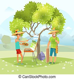 Nature Artist Painting Landscape Vector Illustration