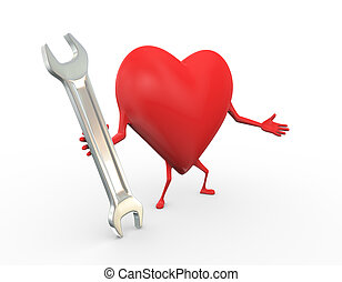 3d heart with wrench