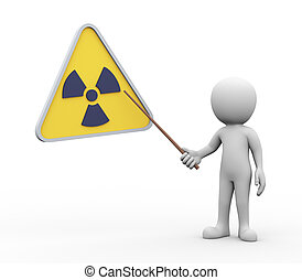 3d man presenting explaining radioactive radiation symbol -...
