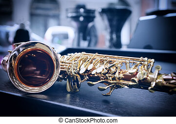 Piece of alto saxophone - Shiny golden alto saxophone with...