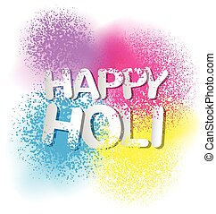 Colorful Gulal for Happy Holi invitation and greeting card -...
