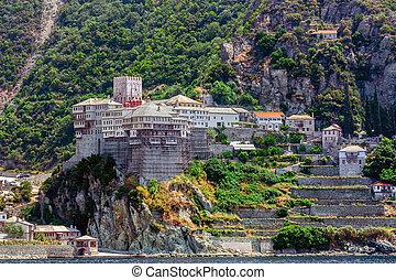 Dionysiou monastery , Mount Athos - Scenic view of Dionysiou...