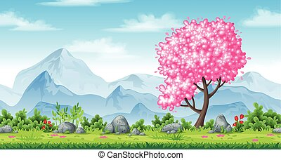 Seamless spring nature background with mountains