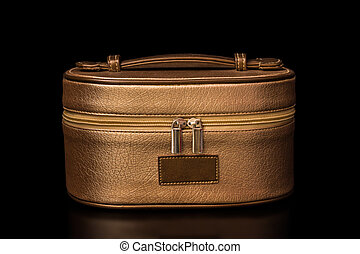 Cosmetics Bag - Golden brown cosmetics bag with soft shadows...