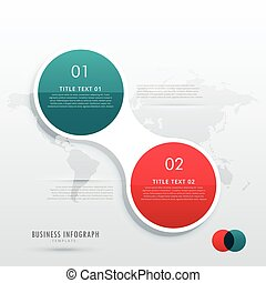 two steps option infographic template in circle style for workflow diagram layout