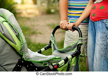 Mother Baby Stroller Bike. Baby carriage close up