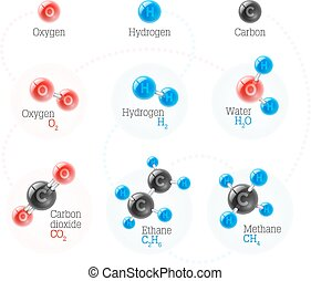 Set of chemical and physical atoms molecules models oxygen....