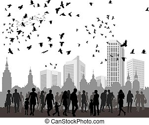 People, city and natur