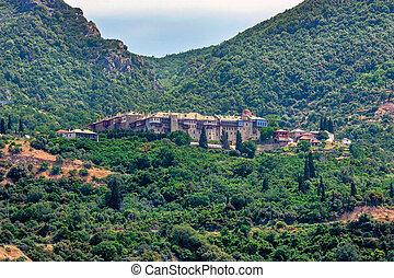 Xeropotamou monastery, Mount Athos - Scenic view of...