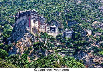 Simonopetra monastery, Mount Athos - Scenic view of Simonos...