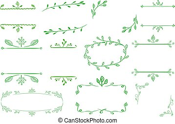 VECTOR hand-sketched green flora frames on white