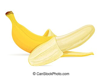 Isolated banana on white background.