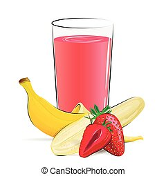 Vector illustration of fresh fruits juice