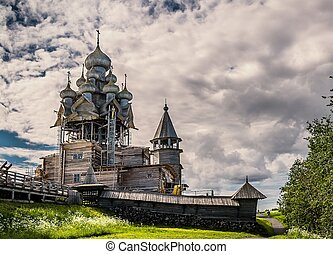 The Church of the Transfiguration on Kizhi island - wooden...