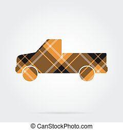 orange, black tartan icon - pickup with a flatbed - orange,...