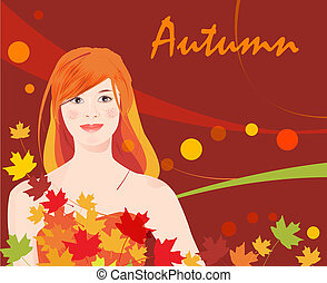 girl and  autumnal leaves