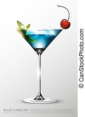 Realistic Blue Lagoon Cocktail Glass Template - Realistic...