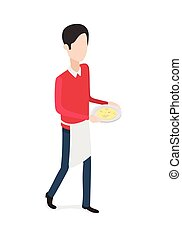 Restaurant. Walking Waiter with Plate in Hands