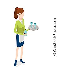 Restaurant. Waitress with Metal Tray and Bottle -...
