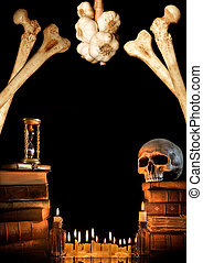 Halloween border 2 - Halloween border with skull, ancient...