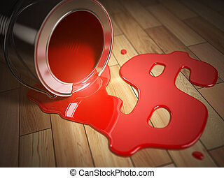 House renovation or construction concept. Can with spilled red paint and dollar sign. Costs of renovation.