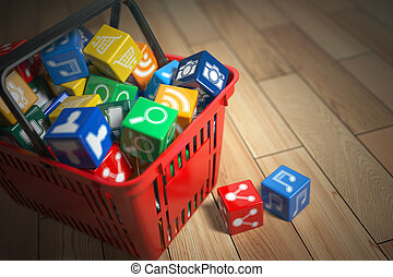 Application software icons boxes in the shopping basket....