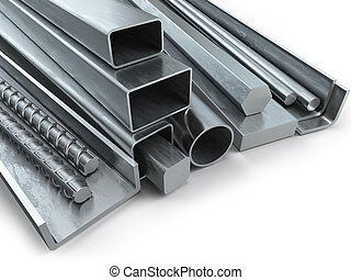 Different metal products. Stainless steel profiles and...