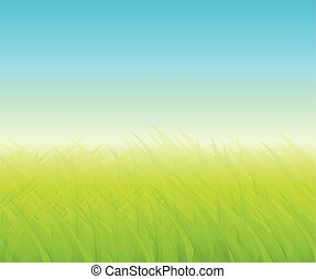 Green background with grass - Green background with blurry...