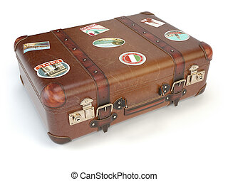 Retro suitcase beggage with travel stickers isolated on...