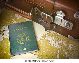 Travel or turism concept.  Old  suitcase with passport on the world map. Vintage background.