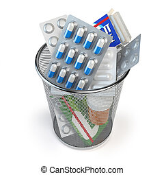 Pills, capsules and medicines thrown in the dustbin isolated...