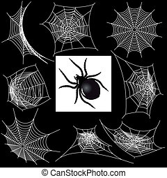 Set with a spider's webs and spider