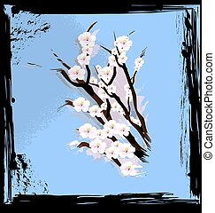 abstract blue and blossom - black background with blue...