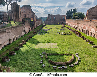 The hippodrome of Domitian on Palatine hill in Rome, Italy