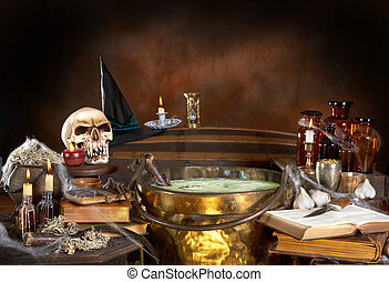 Witch's kitchen - Halloween kitchen of a witch, with a...
